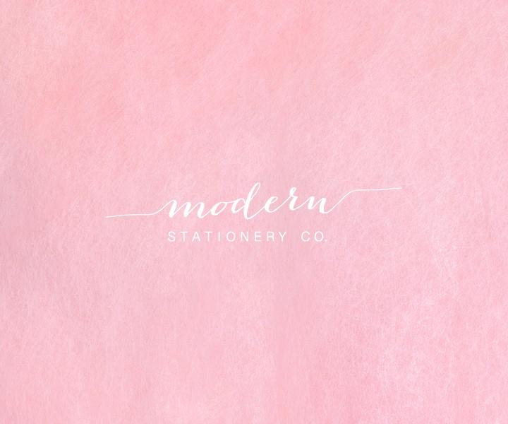 modern stationery co logo on pink background