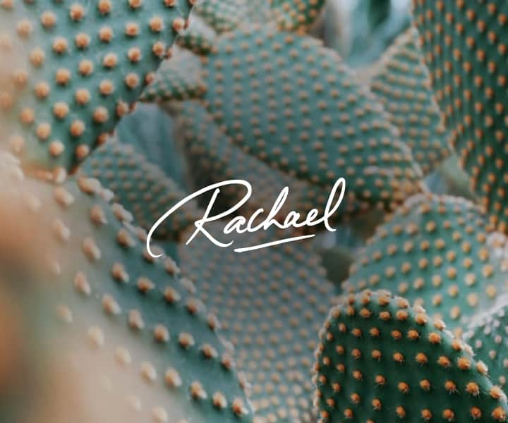 rachael logo on an image of cactus